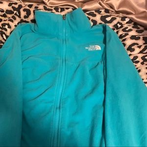 North Face light teal zip up fleece